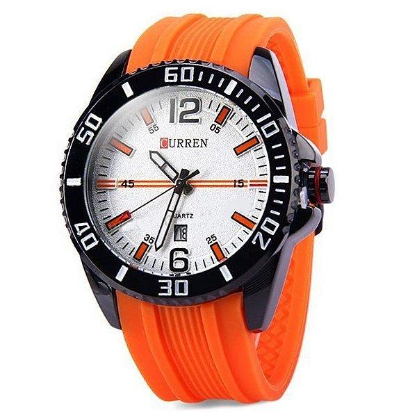Relógio Masculino Curren Analógico Casual 8178 Laranja