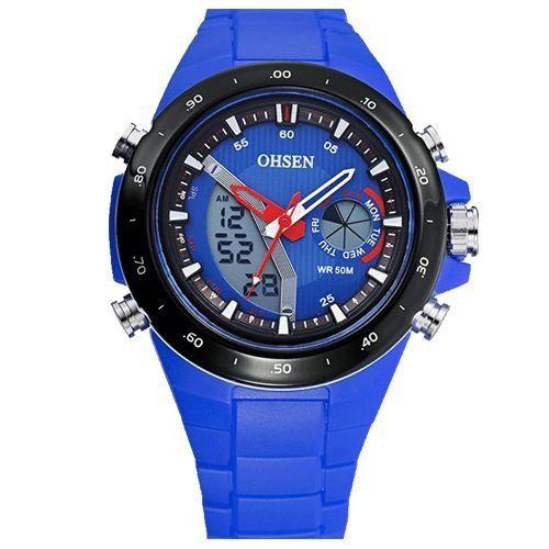 Relógio Masculino Ohsen AnaDigi Esporte AD2802 Azul