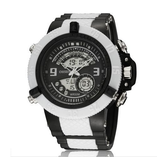 Relógio Masculino Ohsen AnaDigi Esporte  AD2811 Branco