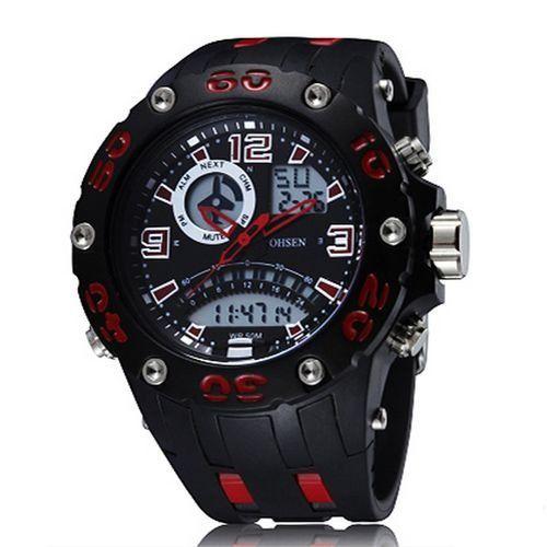 Relógio Masculino Ohsen AnaDigi Esporte AD2801 Vermelho