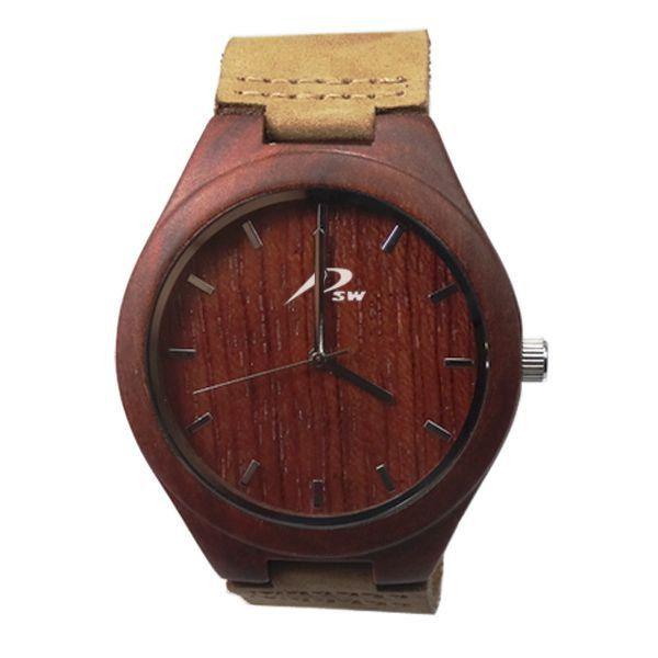 Relógio Masculino PSW Analógico Madeira PSW3 Vermelho