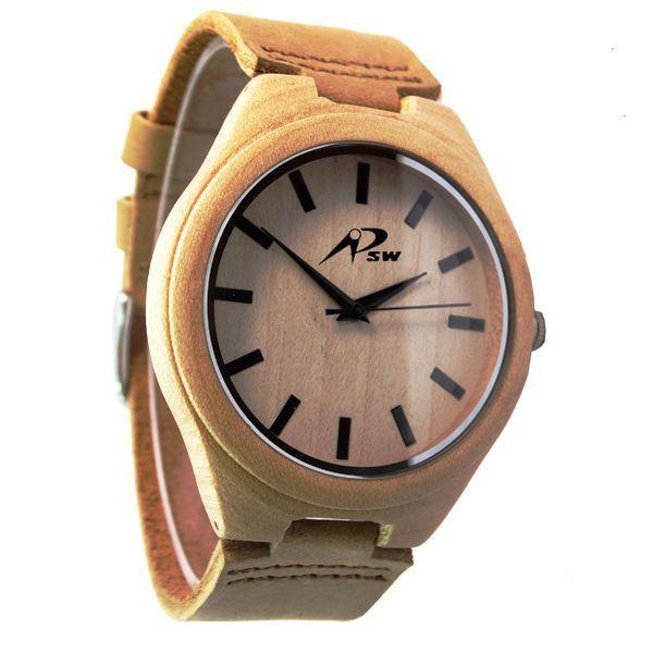 Relógio Masculino PSW Analógico Madeira PSW4 Marrom Claro