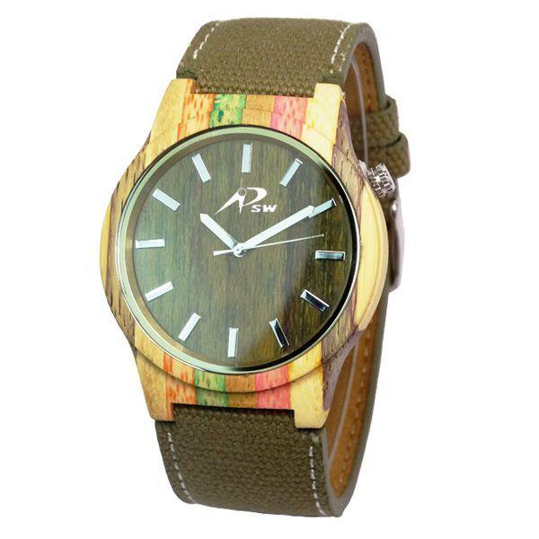 Relógio Masculino PSW Analógico Madeira PSW7 Verde