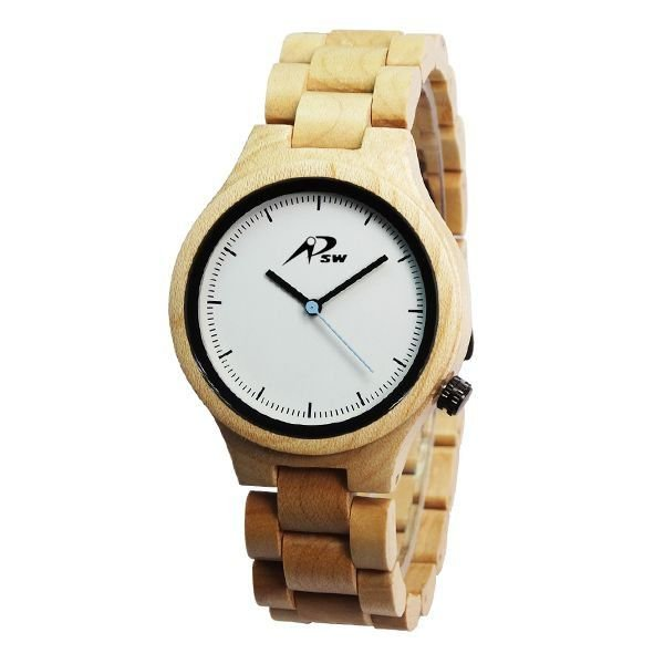 Relógio Masculino PSW Analógico Madeira PSW8 Branco