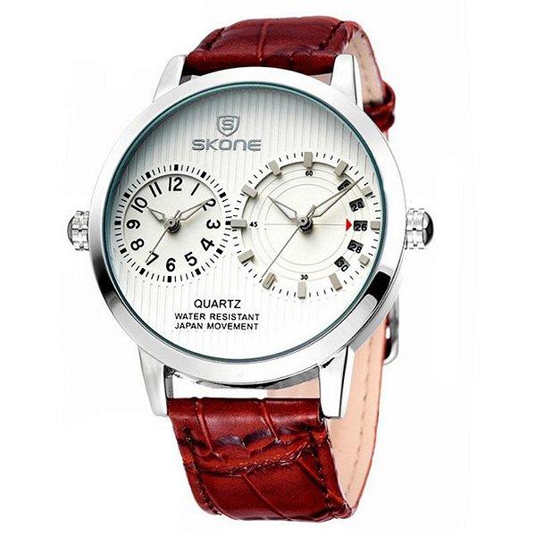 Relógio Masculino Skone Analógico Casual 9142 Branco