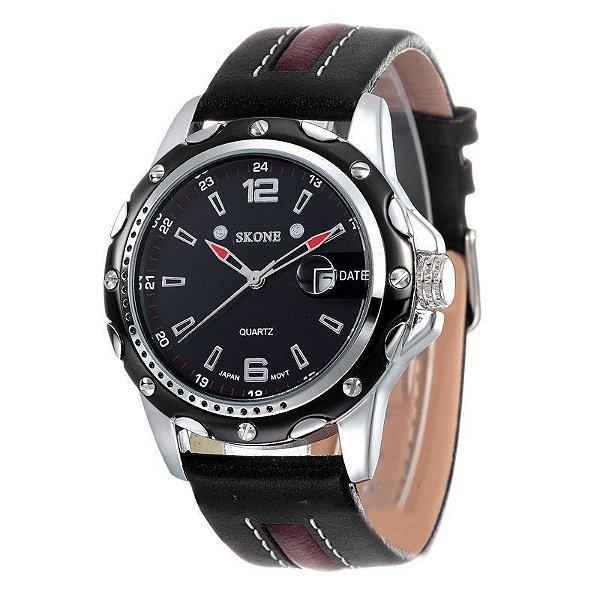 Relógio Masculino Skone Analógico Casual 9117B Preto