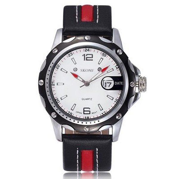 Relógio Masculino Skone Analógico Casual 9117B Vermelho