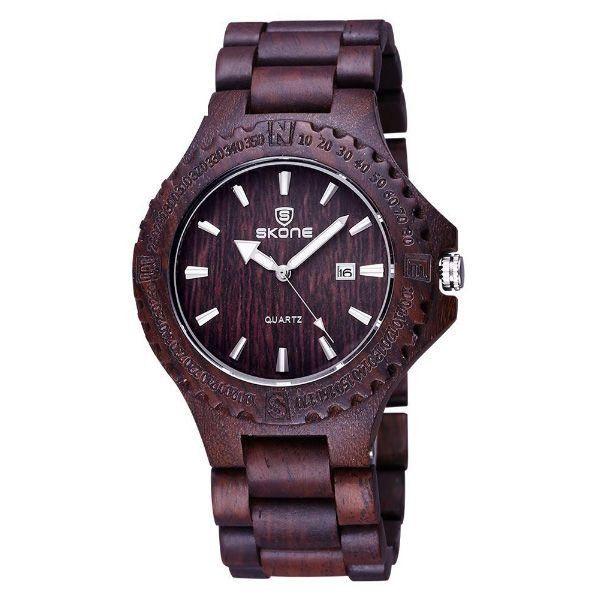 Relógio Masculino Skone Analógico Madeira 7397BR Marrom Escuro
