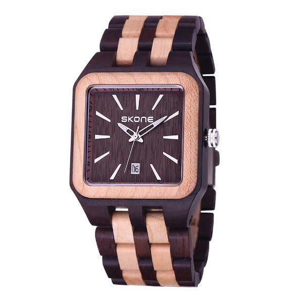 Relógio Masculino Skone Analógico Madeira 7398BG Marrom
