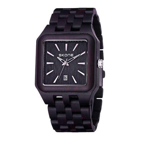 Relógio Masculino Skone Analógico Madeira 7398BG Preto