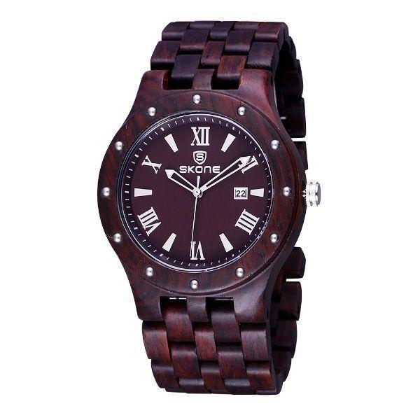 Relógio Masculino Skone Analógico Madeira 7399BG Marrom