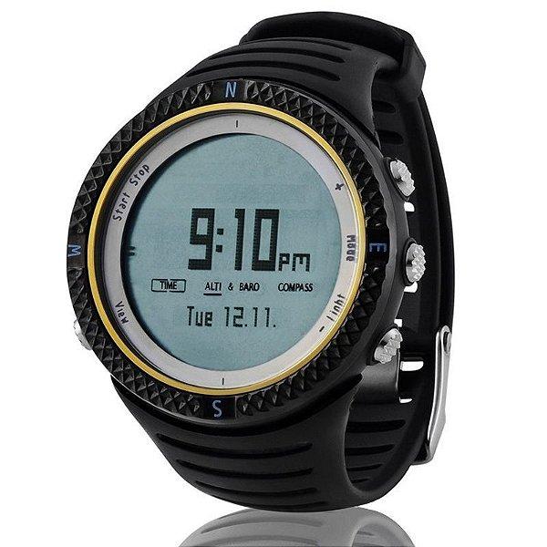 Relógio Masculino Spovan Digital Esporte Barometro Altimetro Bussola FX8001-B