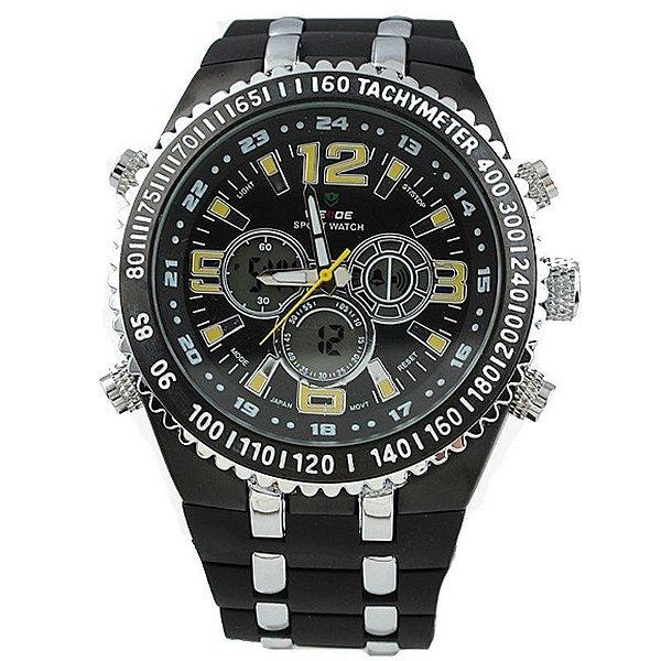 Relógio Masculino Weide AnaDigi Casual WH-1107 Amarelo