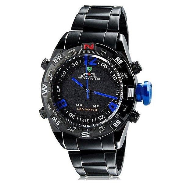 Relógio Masculino Weide AnaDigi WH-2310 - Preto e Azul