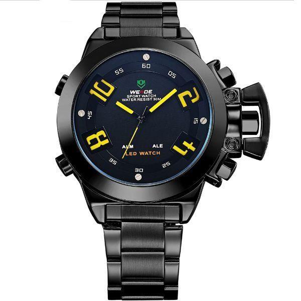 Relógio Masculino Weide Anadigi WH-1008 Preto e Amarelo