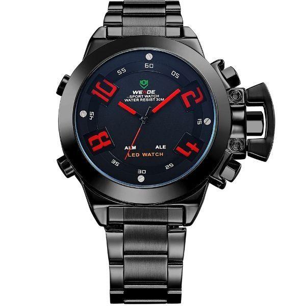 Relógio Masculino Weide Anadigi WH-1008 Preto e Vermelho