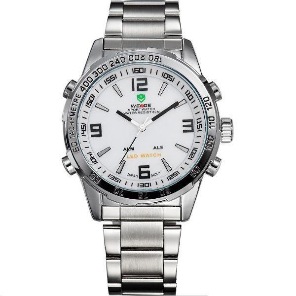 Relógio Masculino Weide Anadigi WH-1009 Prata e Branco