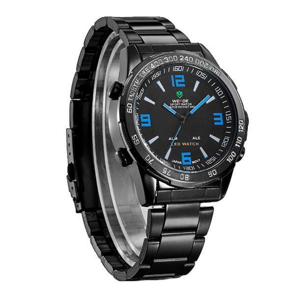 Relógio Masculino Weide Anadigi WH-1009 Preto e Azul