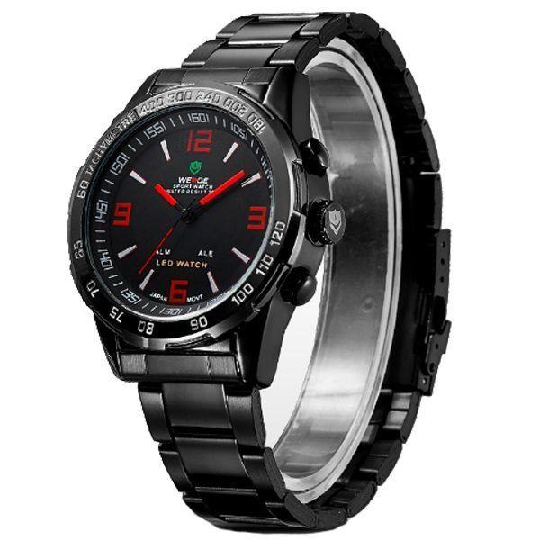Relógio Masculino Weide Anadigi WH-1009 Preto e Vermelho