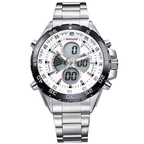Relógio Masculino Weide AnaDigi WH-1103 - Prata e Branco