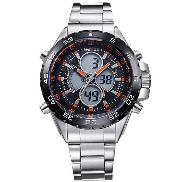 Relógio Masculino Weide AnaDigi WH-1103 - Prata e Laranja