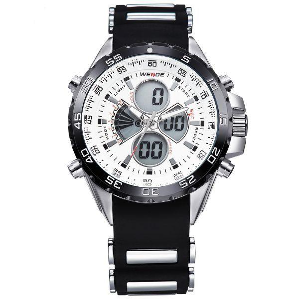 Relógio Masculino Weide Anadigi WH-1103 Preto e Branco