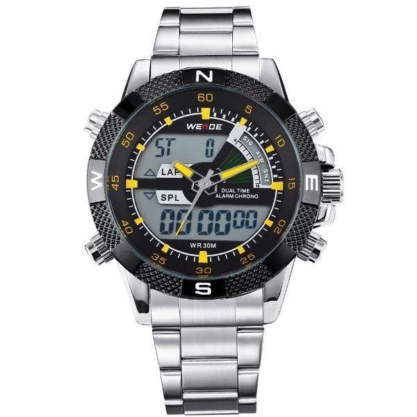 Relógio Masculino Weide Anadigi WH-1104 Amarelo