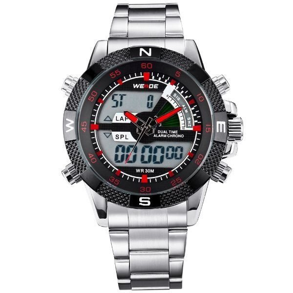 Relógio Masculino Weide AnaDigi WH-1104 - Prata e Vermelho