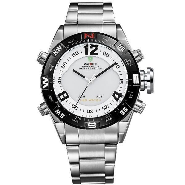 Relógio Masculino Weide Anadigi WH-2310 Prata e Branco