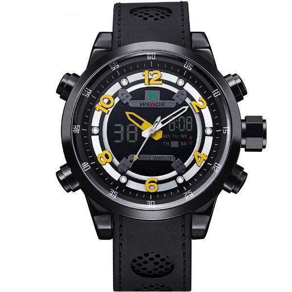 Relógio Masculino Weide Anadigi WH-3315 Preto e Amarelo