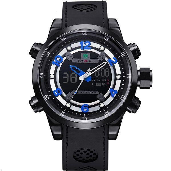 Relógio Masculino Weide Anadigi WH-3315 Preto e Azul