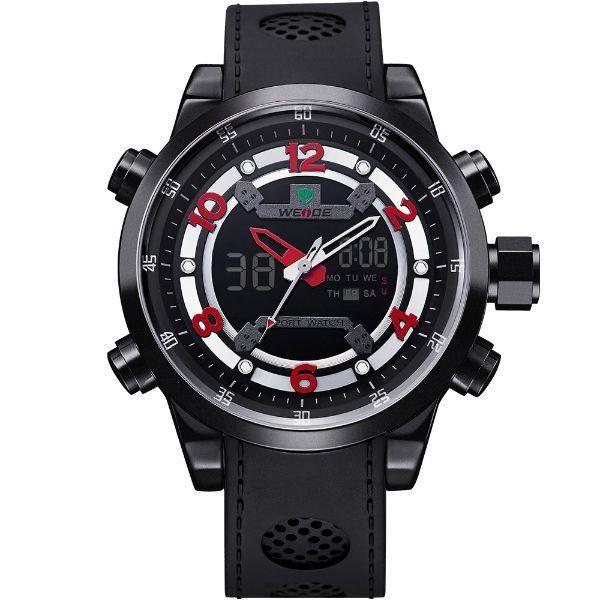 Relógio Masculino Weide Anadigi WH-3315 Preto e Vermelho
