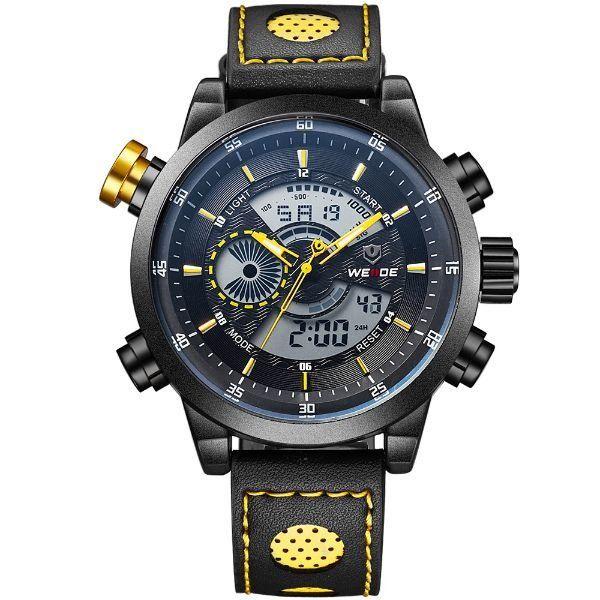 Relógio Masculino Weide Anadigi WH-3401-C Preto e Amarelo