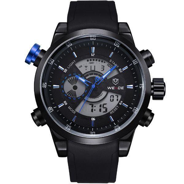 Relógio Masculino Weide Anadigi WH-3401 Preto e Azul