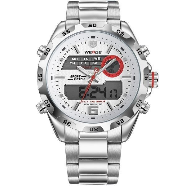 Relógio Masculino Weide Anadigi WH-3403 Prata e Branco