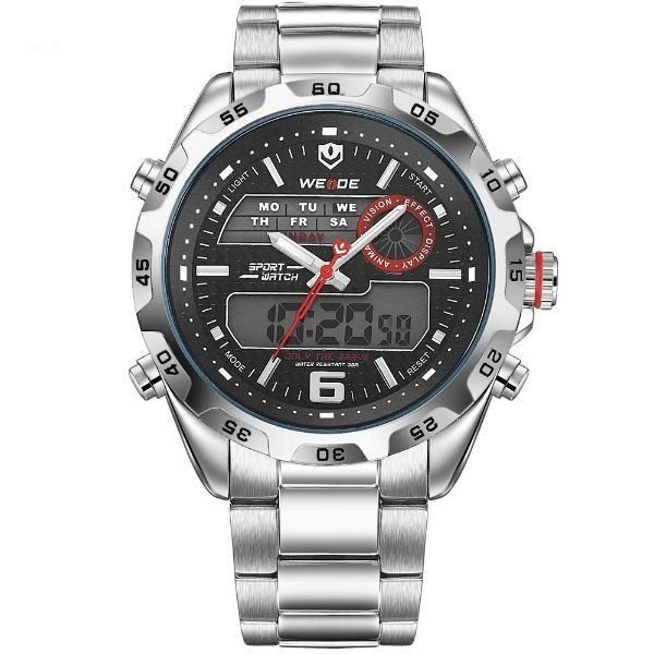 Relógio Masculino Weide Anadigi WH-3403 Prata e Preto