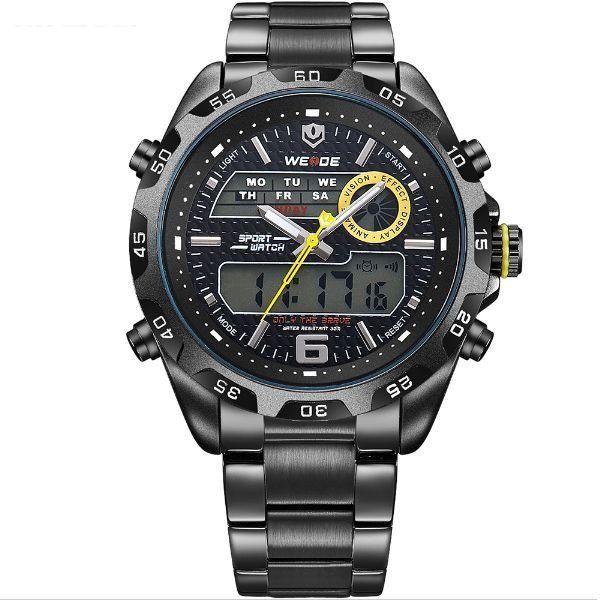 Relógio Masculino Weide Anadigi WH-3403 - Preto - Amarelo
