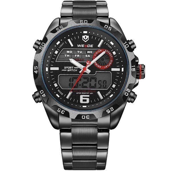 Relógio Masculino Weide Anadigi WH-3403 Preto e Vermelho