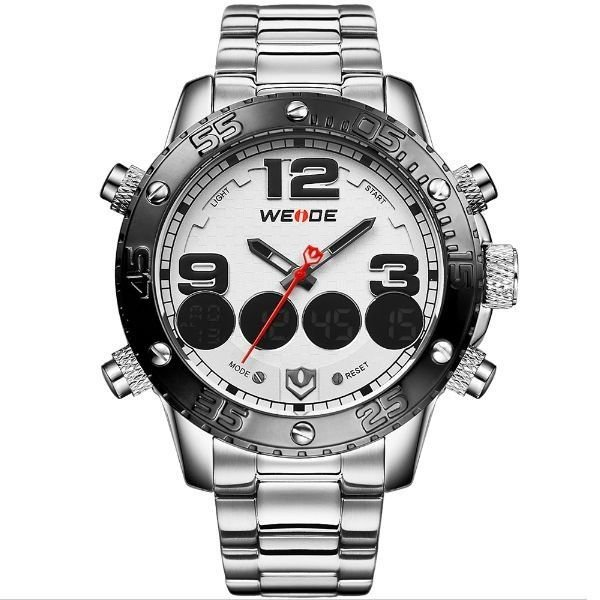 Relógio Masculino Weide Anadigi WH-3405 Prata e Branco