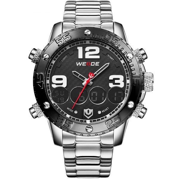 Relógio Masculino Weide Anadigi WH-3405 Prata e Preto