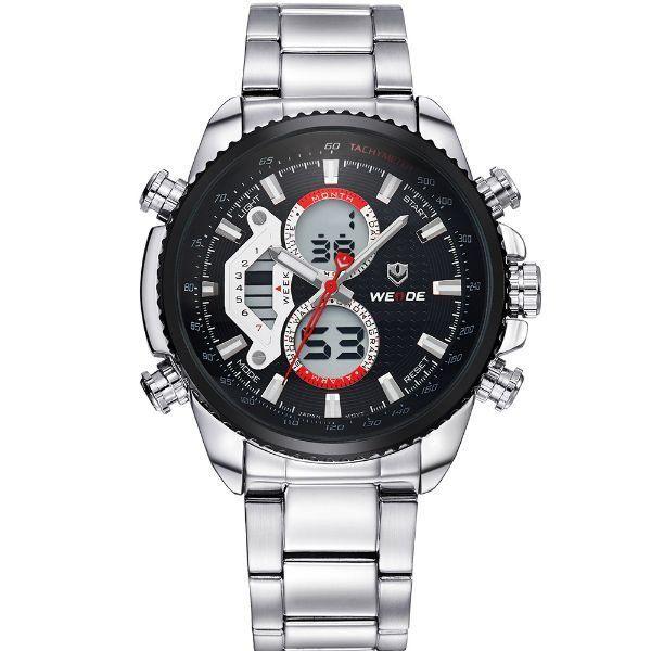 Relógio Masculino Weide Anadigi WH-3410 Prata e Preto