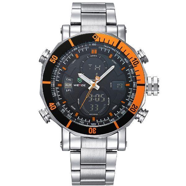 Relógio Masculino Weide Anadigi WH-5203 Prata e Amarelo