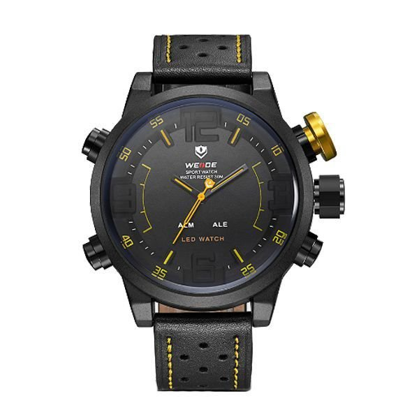 Relógio Masculino Weide AnaDigi WH-5210 - Preto e Amarelo