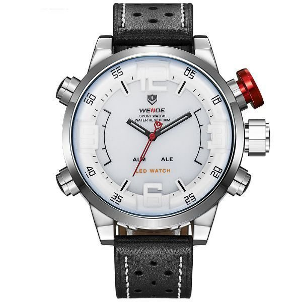 Relógio Masculino Weide Anadigi WH-5210 Branco e Prata