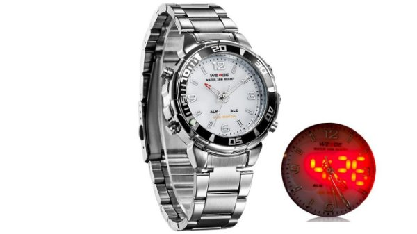 Relógio Masculino Weide Anadigi WH-843 Prata e Branco