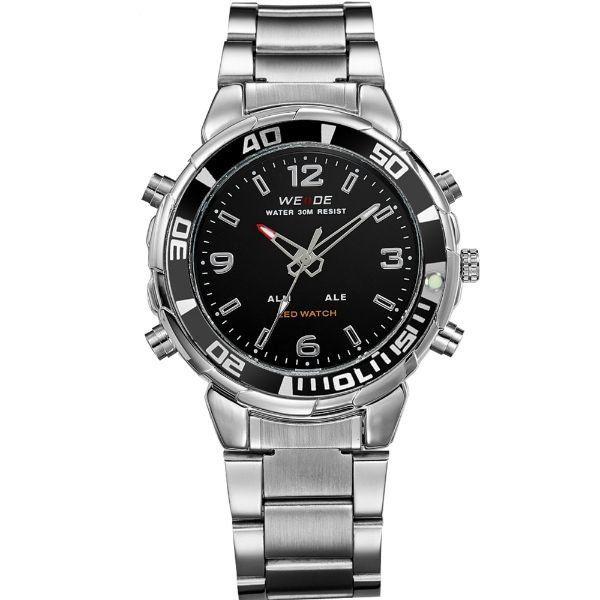 Relógio Masculino Weide Anadigi WH-843 Prata e Preto