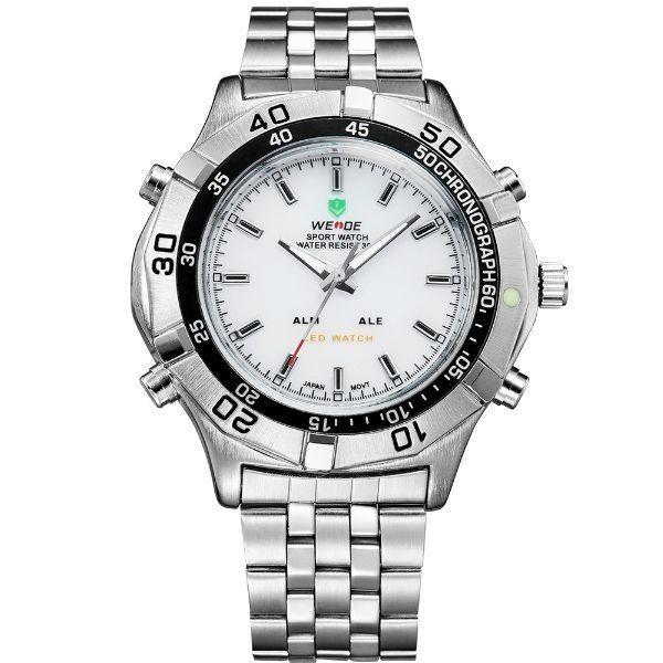 Relógio Masculino Weide Anadigi WH-905 Prata e Branco