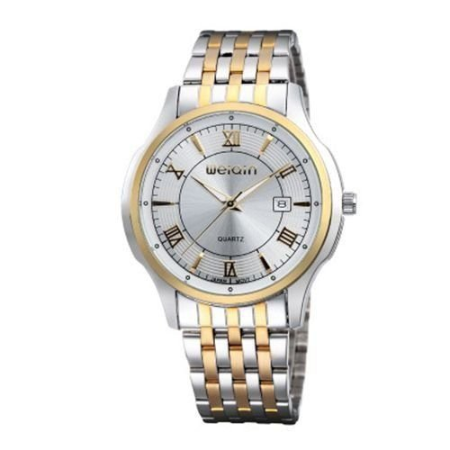 Relógio Masculino Weiqin Analógico Casual W0089 Prata e Dourado