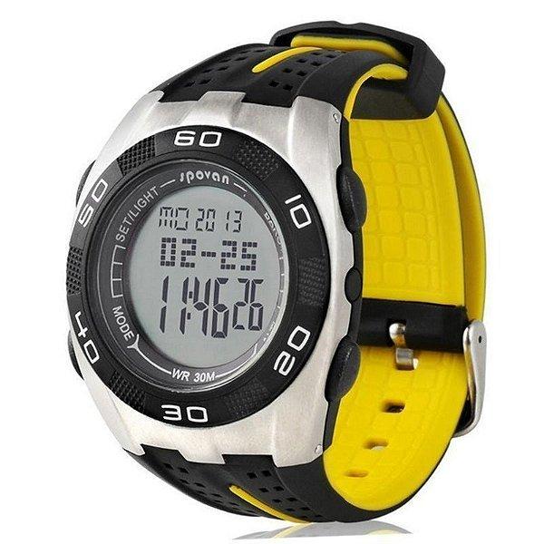 Relógio Smart Masculino Spovan Digital Blade-V - Preto e Amarelo