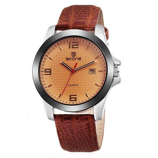 Relógio Unissex Skone Analógico Casual 9180BG Marrom